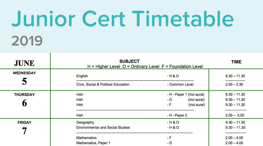 Banner of Junior Cert Timetable 2019