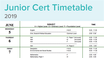 Thumbnail of Junior Cert Timetable 2019