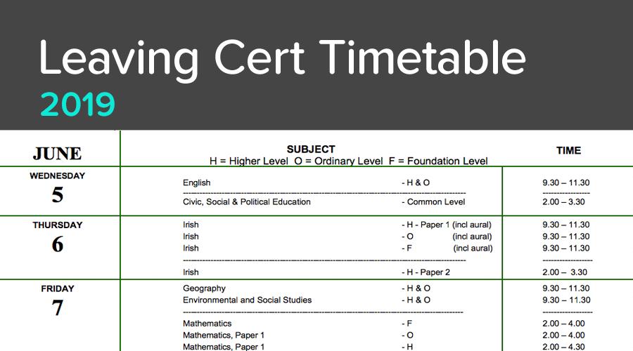 Banner of Leaving Cert Timetable 2019